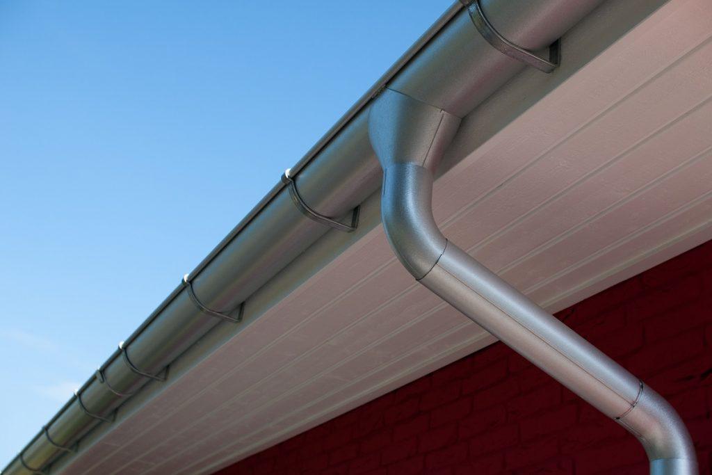 Silver roof gutter