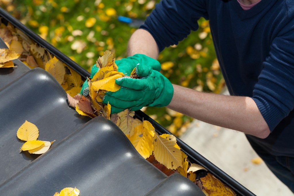 Man cleaning clogged gutter full of leaves