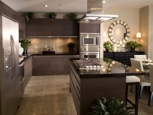Modern kitchen with brown cabinets