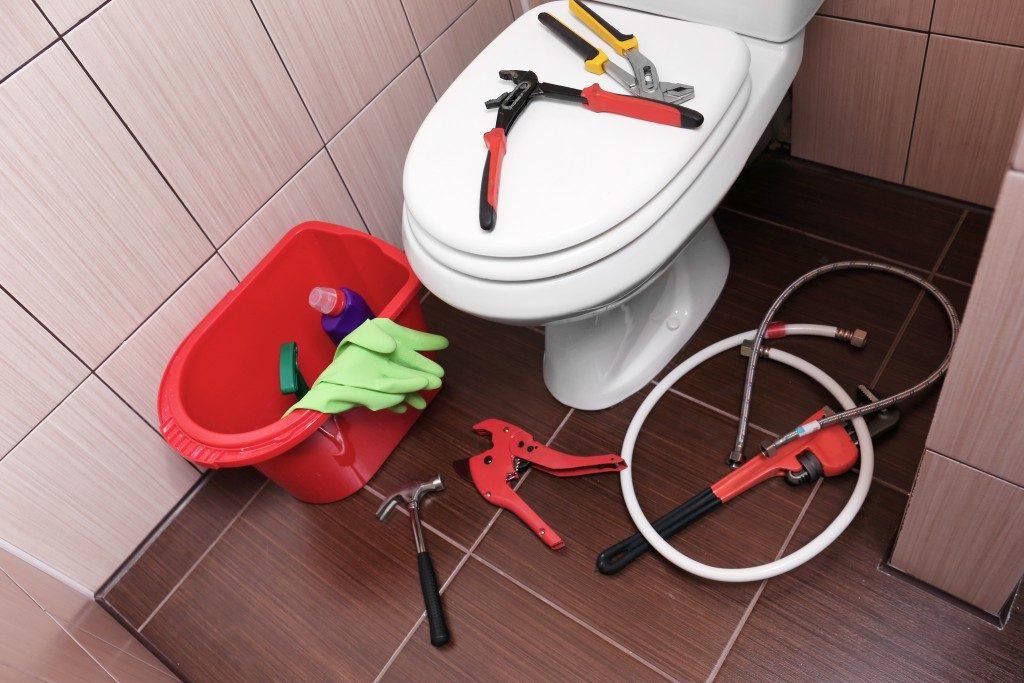 Repairing the toilet