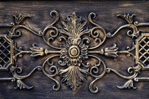 antique fireplace mantel detail