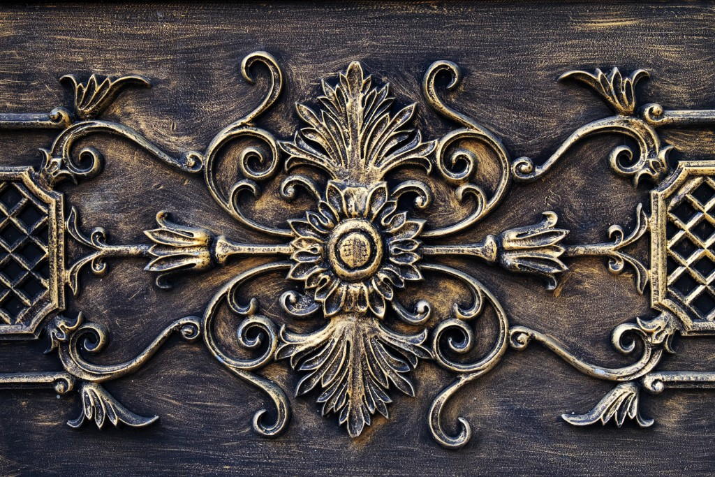 antique fireplace mantel detail
