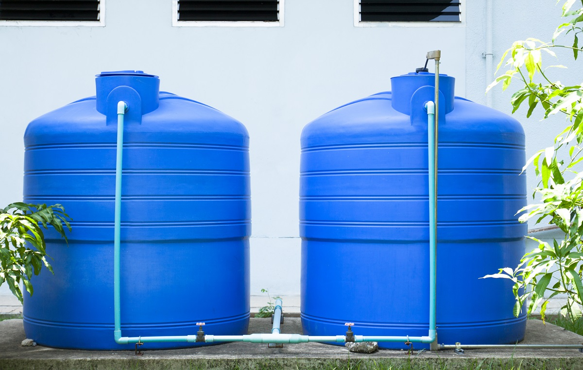 Blue plastic water tanks