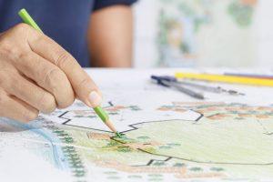Man sketching landscape design