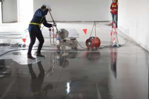 epoxy flooring work in the site