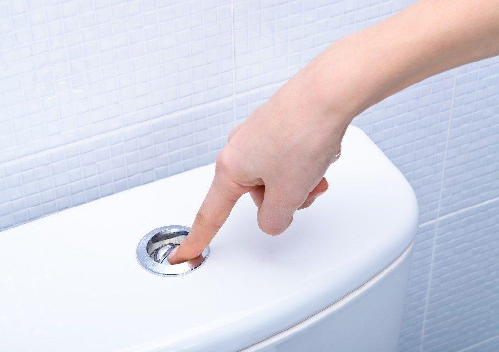 Person pushing the toilet flush button