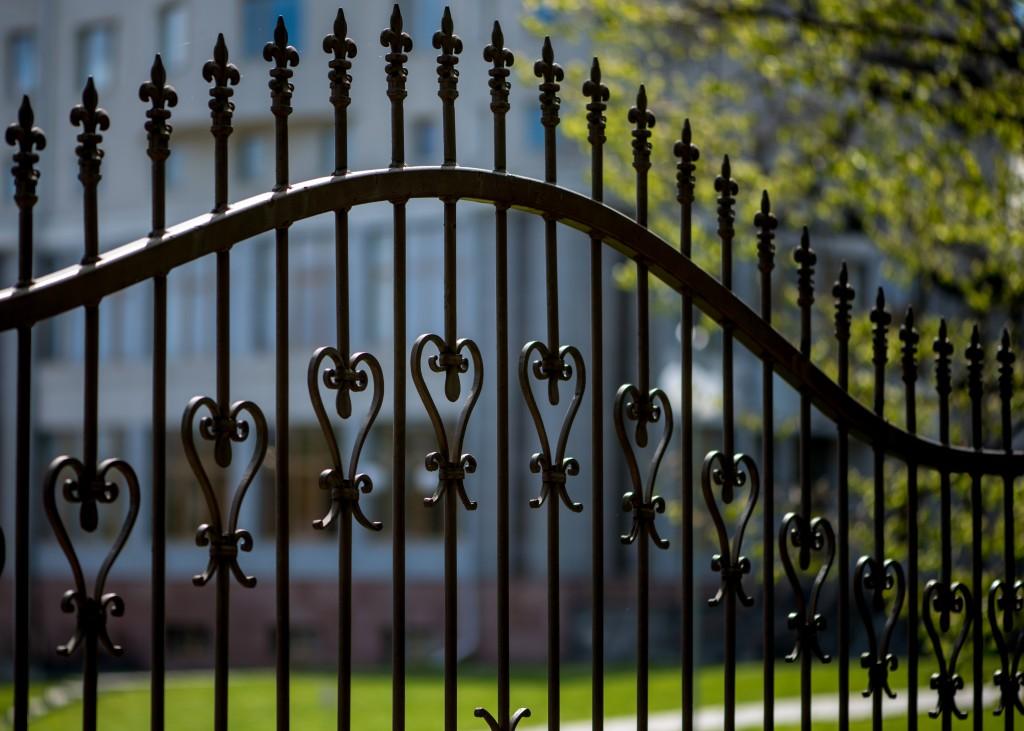 Black iron fence