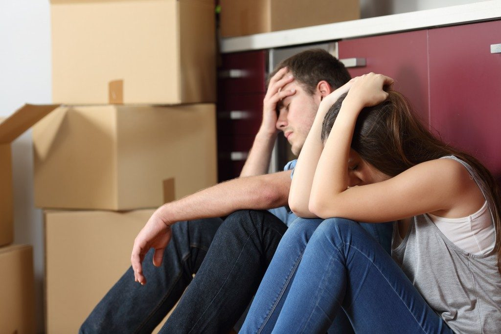 Couple experiencing home improvement stress