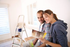 Couple choosing color for walls