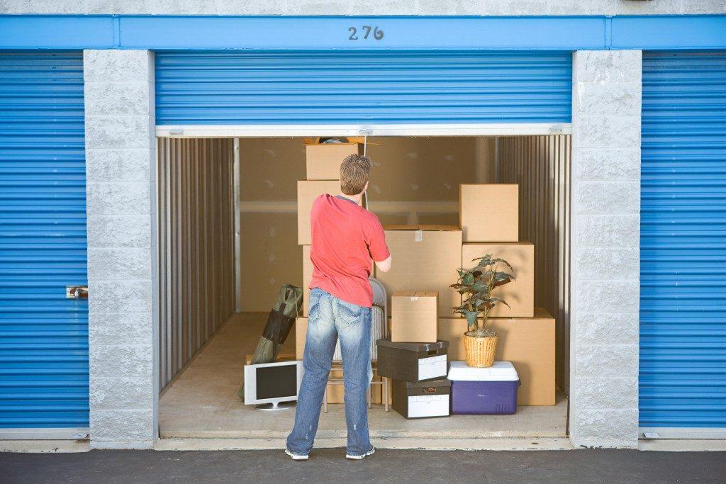 Man finished putting stuff in storage
