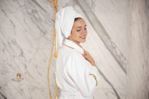 girl with towel and bath robe