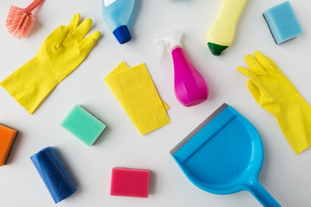 colorful cleaning materials