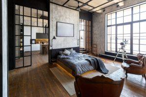 interior design bedroom with antique pieces