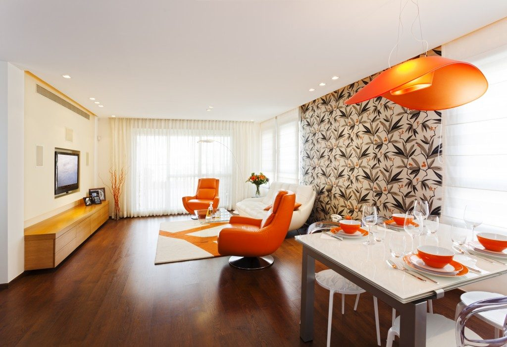 home with orange and brown theme