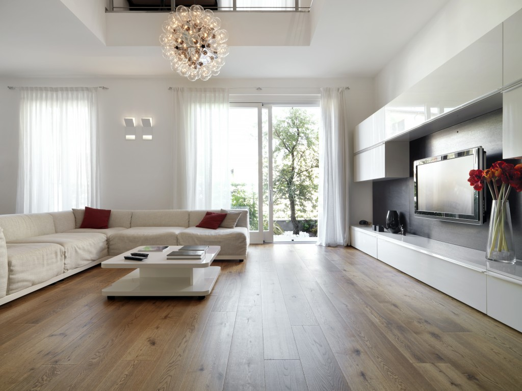modern living room with wooden floor