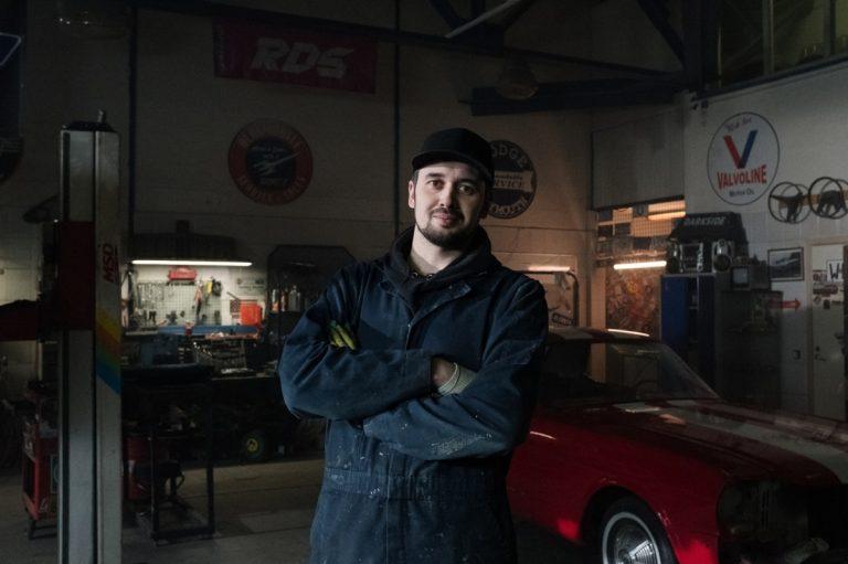 man in a garage